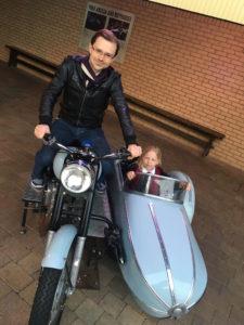 Anthony & Abigail astride Hagrid's motorbike at the Studio Tour London - 2016
